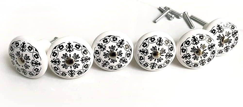 6Pcs Retro and Elegant White Ceramic Pulls Handles Knobs,for Pastoral Kitchen Drawer Cabinet Wardrobe Furniture Handles,Girls Dresser/Kids Cupboard/ Drawer Handles (Paris)