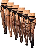 6 Pairs Women Suspender Pantyhose Stockings Black Fishnet Tights Stretchy Thigh High Stockings for Dress up Favors (Set 1)