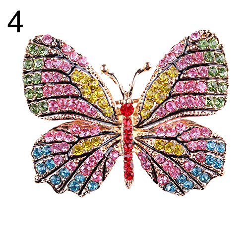 litymitzromq Brooch Lapel Pins, Colorful Butterfly Rhinestone Brooch Pin Wedding Bridal Scarf Collar Jewelry for DIY Clothing Bags Backpacks Jackets Hat