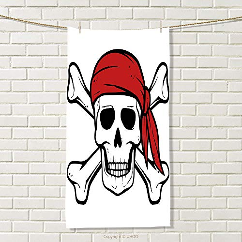 - smallbeefly Pirate Queen Size Travel Towel Dead Pirate Skull and Crossbones Red Bandana Scary Bandit Warning Icon Piracy 100% Microfiber Black White Ruby Size: W 27.5
