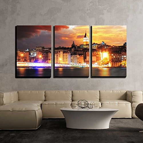 Istanbul at a Dramatic Sunset with Clouds x3 Panels