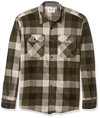 Wrangler Authentics Men's Long Sleeve Plaid Fleece Shirt, Grape Leaf Buffalo, Medium