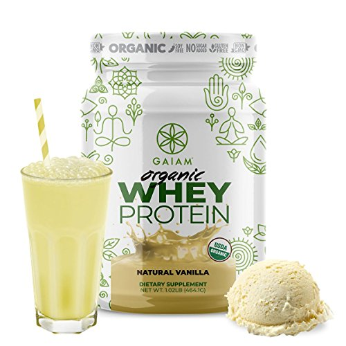 GAIAM Organic Whey Protein Made in USA, USDA Organic Certified, 0g Sugar, 19g-20g Protein Per Serving – 1lb Jar Natural Vanilla