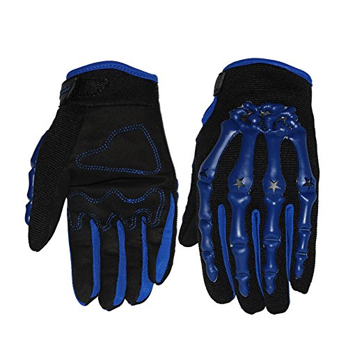 IU COMP Summer And Autumn Full Finger Ghost Motorcycle Cycling Racing Gloves,Blue,L Size