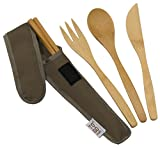 Bamboo Travel Utensils - To-Go Ware Utensil Set with Carrying Case (French Roast)