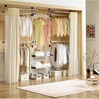 Lovely Deluxe 4 Tier U0026 Shelf Hanger With Curtain | Clothing Rack | Closet Organizer