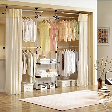 Deluxe 4 Tier Shelf Hanger With Curtain
