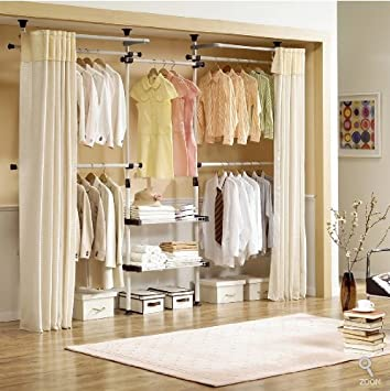 High Quality Deluxe 4 Tier U0026 Shelf Hanger With Curtain | Clothing Rack | Closet Organizer