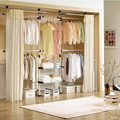 Elegant Deluxe 4 Tier U0026 Shelf Hanger With Curtain | Clothing Rack | Closet Organizer