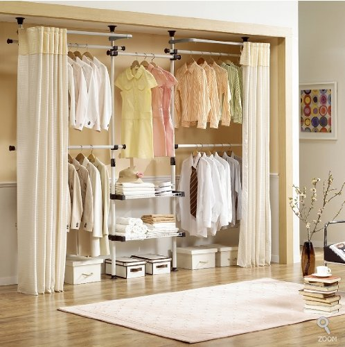 Deluxe 4 Tier & Shelf Hanger with Curtain | Clothing Rack |