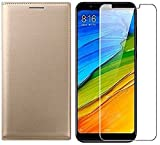 MuditMobi Leather Flip Case Cover Tempered Glass Screen Protector Combo Fits Perfectly On Your Mobile Phone Leather Flip Cover With Tempered Glass Screen Protector Combo For- Samsung Galaxy J1 4G - Golden