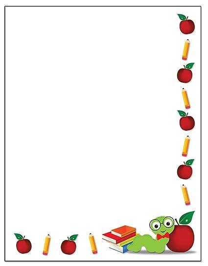 amazon com teacher theme border stationery 8 5 x 11 60
