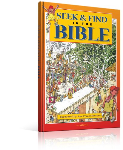 Seek and Find in the Bible-Activity Bible-Kids Game-Samson-Jericho-Jerusalem-Birth of Jesus-Wedding at Cana-Healing-Temple-Zaccheus-Palm ... and Goliath-Hardcover