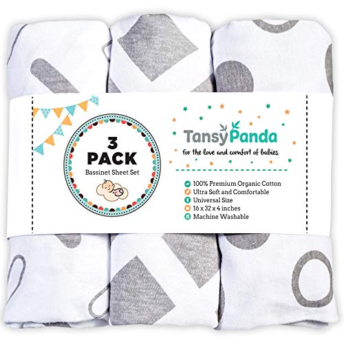 TANSY PANDA Bassinet Fitted Sheet Set Pack of 3-100% Jersey Cotton 160GSM Ultra Soft, Breathable, and Universal Fit Bassinet Sheets for Baby Boy and Girl, White and Grey