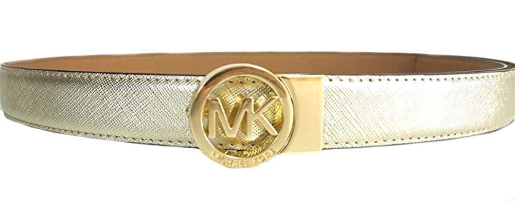 Michael Kors Women's MK Logo Reversible Saffiano Leather Gold /Tan Skinny Belt (L)