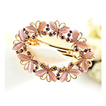Casualfashion Luxury Women's Butterfly Hollow Out Rhinestone Hair Pin Clip Barrette Clamp Ponytail Holder Accessory