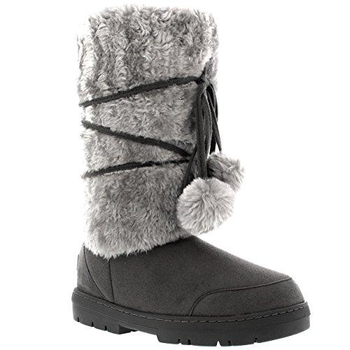 Dames Pom Pom Hoge Regen Sneeuw Winter Plat Warm Veterschoenen Grijs