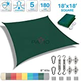 Patio Paradise 18' x 18' Sun Shade Sail with 8 inch Hardware Kit, Dark Green Square Patio Canopy Durable Shade Fabric Outdoor UV Shelter Cover - 3 Year Warranty - Custom Size Available