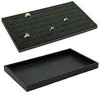 2 Pad 72 Slot Black Jewelry Travel Ring Inserts Display Pads Black Foam