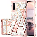 Fingic Samsung Note 10 Case, Galaxy Note 10 Case Rose Gold Marble Shiny Glitter Bumper Hybrid Hard Plastic Soft Rubber Silicone Cover Anti-Scratch Shockproof Protective Case for Samsung Galaxy Note 10
