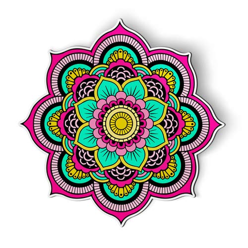 AK Wall Art Mandala Flower Pretty - Magnet - Car Fridge Locker - Select -