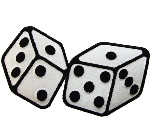 [Roll of the Dice Casino Poker Luck Iron or Sew on Embroidered Patch D34] (Luck Dice)