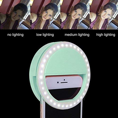 Selfie Light 36 Highlight LED Flash Fill Light Camera Photography Rechargeable Ring Light For iPhone 6s Plus/6s, iPad, Samsung Galaxy S6 Edge/S6, Galaxy Note 5, Blackberry, Sony Xperia, Motorola and All the Smart Phones (Green)