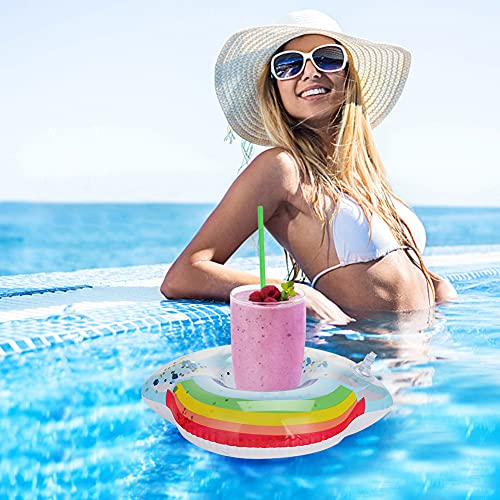 MCPINKY Inflatable Drink Holder, Sparkling Confetti Drink Pool Floats Mermaid Cup Holder Floats Inflatable Rainbow Floating Coasters for Kids Water Fun Toys Bath Toys Shower(6 Pack)