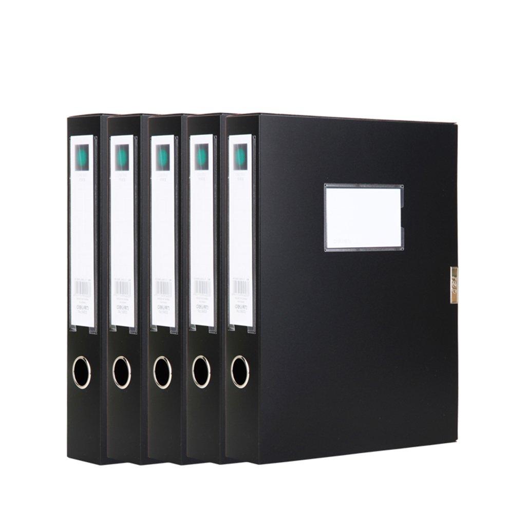 TYJY Archive Box Office Supplies Plastic Box A4 Data Box File Storage Folder Storage Box, 5-pack (Color : Black, Size : 5.5cm)