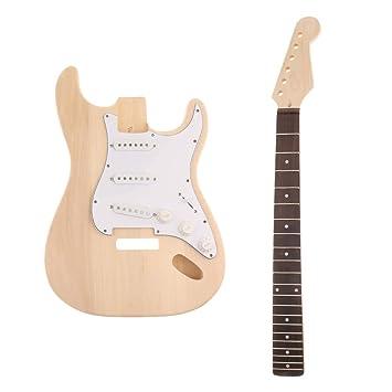 B Blesiya Juego de Guitarra Eléctrica Cuerpo, Cuello Placa Cable de Madera Instrumentos de Cuerda para Niños: Amazon.es: Instrumentos musicales