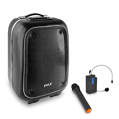- Pyle Portable PA Speaker and Microphone Kit - Bluetooth PA Speaker System with Karaoke Microphone, FM Radio, MP3/USB/Micro SD Readers