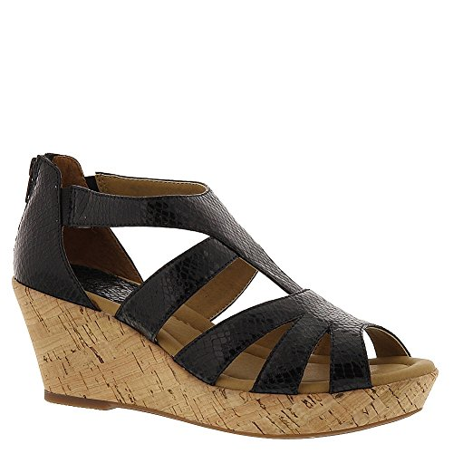 (softspots Women's Rhode,Black Snake Leather,US 8.5 W)