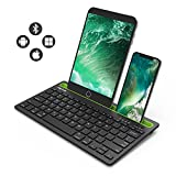 Bluetooth keyboard, Jelly Comb BK230 Dual Channel Multi-device Universal Wireless Bluetooth Keyboard Rechargeable with Sturdy Stand for Tablet Smartphone PC Windows Android iOS Mac (Black and Green)