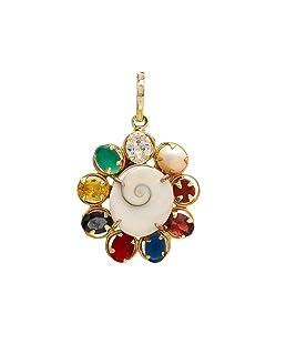 Shree Shyam Gems and Jewellery Multicolour Synthetic Navratna Gomti Chakra Brass Pendant for Men and Women