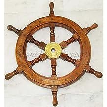 Nautical Marine 18'' Ship Wheel Collectible Decoration Rudder Wall Hanging Wood / Boat Beach Home Decor