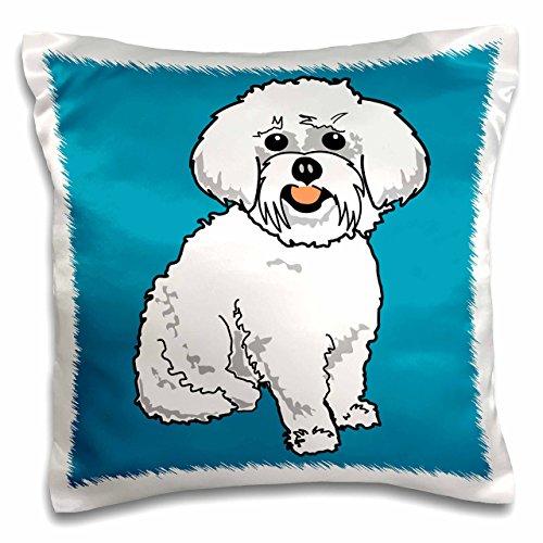3dRose pc_117470_1 Cute Retro Style Cartoon Maltese Puppy Dog Pet Animal On Blue-Pillow Case, 16 by 16