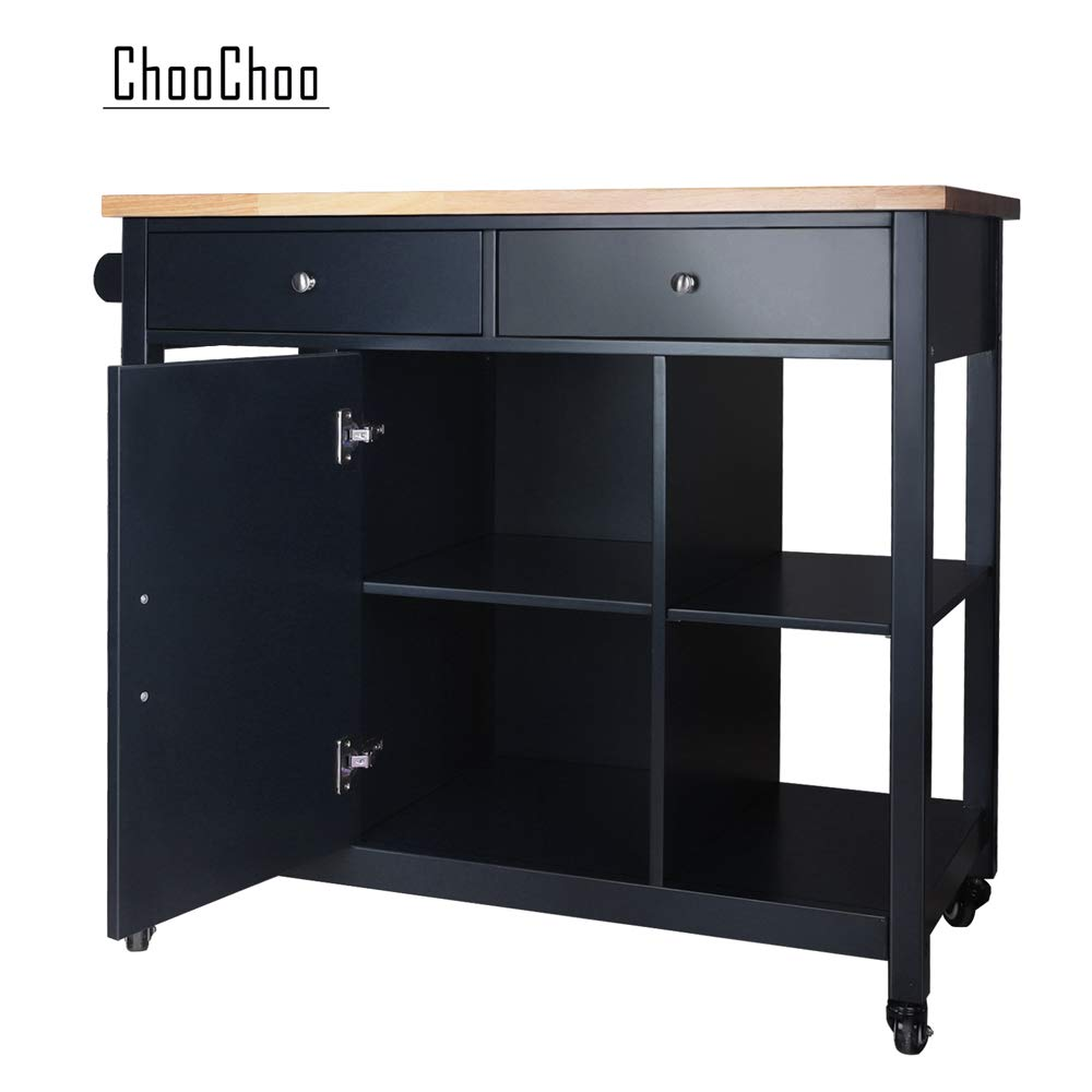 ChooChoo Kitchen Islands Cart on Wheels with Natural Rubber Wood Top, Utility Wood Kitchen Cart with Storage and Drawers, Easy Assembly - Navy Blue by ChooChoo (Image #8)
