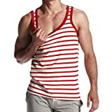Allywit 3D Men T Shirt Texture Stripes Printed Tops Tees Graphics Pattern Tank Top Big and Tall Red