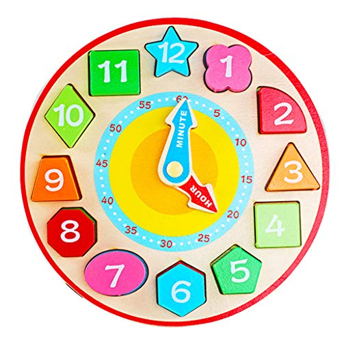 (JAGETRADE Baby Mini Wood Clock Colors Numbers Learning Kids Intelligence Cognition Development Children Early Educational Toy)