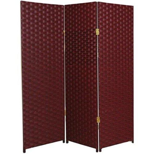Natural Plant Fiber Woven Room Decor Red 3 Panels Divider by Oriental Furniture Panels Divider