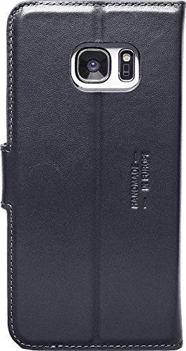 JT Berlin LederBook Style für Samsung Galaxy S7 in schwarz [Echtleder | Handarbeit | Standfunktion | Kartenfächer | Magnetverschluss] - 10047