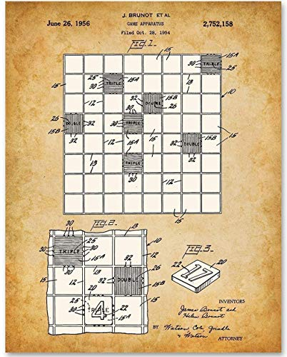 (Scrabble Board Game - 11x14 Unframed Patent Print - Makes a Great Gift Under $15 for Game Room Decor)
