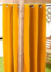 Amarillo resistente al agua gebrauchsfertig exterior cortina 140cmx213cm Cenador Verano Casa