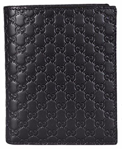 Gucci Men's Leather Micro GG Guccissima Vertical Bifold Wallet (Black 292533)