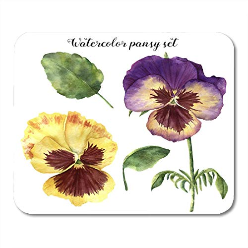 Viola Leaf - Mouse Pads Colorful Watercolor Floral with Pansy Hand with Leaves Viola Flowers and Branches White and Purple Mouse Pad for Notebooks,Desktop Computers Mouse Mats