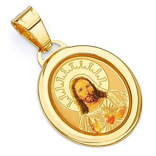 14k Yellow Gold Religious Jesus Heart Enamel Picture Charm Pendant -