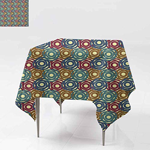 SONGDAYONE Soft Square Tablecloth Tribal Ancient South American Motifs Angled and Interlocked Lines with Colorful Circles Wrinkle Free Multicolor W54 xL54