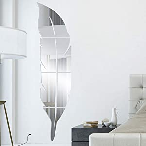 Mirror Wall Decor - Self Adhesive 3D Feather Shape Mirror Wall Sticker Decal for Bedroom Bathroom Decoration, Silver-Large