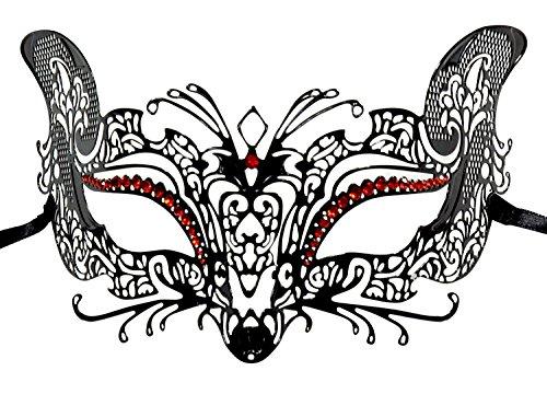 1Bay Women's Fox Filigree Venetian Masquerade Mask With Red Rhinestones Black