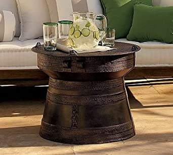 Pottery Barn Frog Rain Drum Accent Table